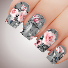 PINK GREY ROSE Floral Full Cover Nail Decal Art Water Slider Transfer Tattoo Sti