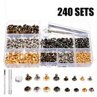 240Pcs/box Double Cap Rivets Metal Fixing Stud Repair Tools Kit for Leather Belt
