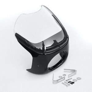 Black Motorcycle 7'' Round Head Light Clear Lens Body Fairing Screen Windshield