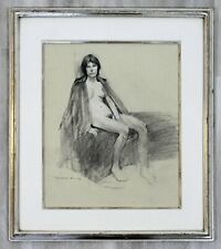 Contemporary Modern Framed Charcoal Drawing Signed Burt Silverman 1982 Nude