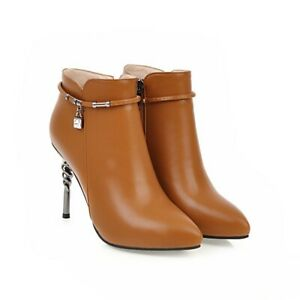 Women's Pointed Toe High Heels Ankle Boots Ladies Side Zipper Party Shoes Bootie