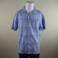Cremieux Classics Blue Short Sleeve Button Front Striped Casual Shirt Mens M
