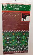 """Set of 2 New Christmas House Tablecloth 54"""" x 108"""" Plastic Christmas Tree"""