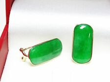 Beautiful Solid 14k Yellow Gold Green Jade Omega Back French Clip Earrings