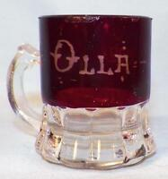 Ruby Stain Penny Candy Scoop Olla 1902 Mug Early American Pattern Glass #3