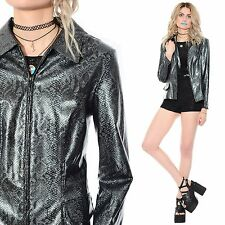 Vtg 90s PVC Snakeskin SHINY Wet-Look Rain Jacket Coat Rave Cyber Grunge Club-Kid