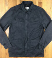 REEF Mens Dark Gray Button Front Heavyweight Shirt Jacket Small Cotton Casual