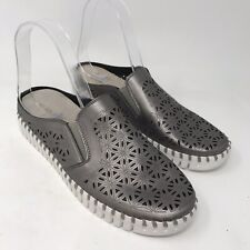 Ilse Jacobsen Women Tulip Shoes Sz 40 9 3360 Gray Perforated Silver Mule Walking