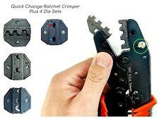 Quick Change Ratchet Crimp Tool 4 Die Sets Flag Pin Ring Open Barrel Terminal