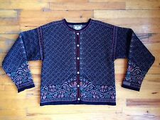 Dale of Norway Black Brown Fair Isle Wool Cardigan Sweater Sz Lg EUC