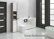 DRIFTWOOD / WHITE GLOSS BATHROOM FITTED FURNITURE 2100MM WITH TALL UNIT