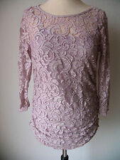 Street One Damen Spitzenshirt/Tunika mit Spaghetti Top Gr. 36 Violett 3/4 Arm