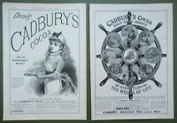 2 Antique Prints Original Adverts Cadburys Cocoa Young Maid & Wheel of Life 1889