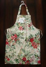 April Cornell Apron Merry Antique Floral Country Christmas Red Green Roses NEW
