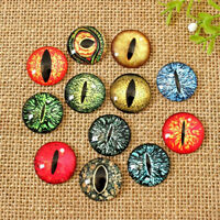 10/30xMixed Colour Dragon Eye Glass Cameo Cabochons For Jewellery & Model Making