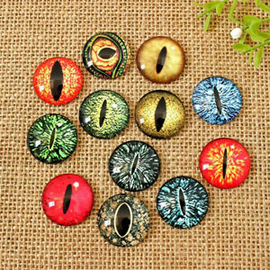 20/50x Mixed Colour Dragon Eye Glass Cameo Cabochons For Jewellery  Model Making