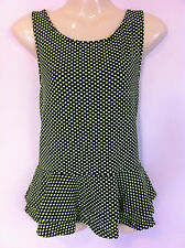 Regular Size Casual Sleeveless Polka Dot Tops for Women