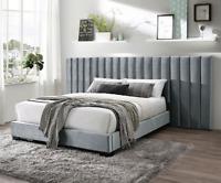 NEW Gray Queen King Wall Bed Modern Contemporary Tufted Velvet Fabric Upholstery