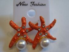 Ohrring orangen Seestern aus Kunststoff mit Strasssteinen und Perlenimitat 4134