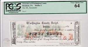 Brenham Texas, Tx, 50 cent county scrip. Highest graded one I have seen PCGS