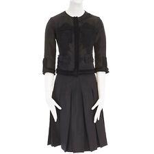 PRADA black raw felt grosrain trimmed wool patch jacket pleated skirt set IT36 S