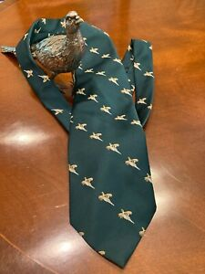 "Principe Vintage Tie 100% Polyester,4.25"" Width, Green With Pheasants"