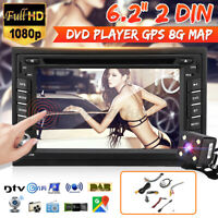 6.2'' 2 Din Car Stereo In Dash DVD CD Player Radio Bluetooth GPS NAV SAT Camera
