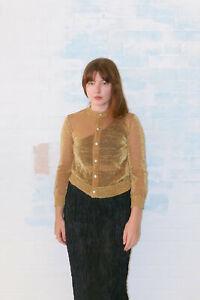 tricot comme des garcons gold metallic cardigan