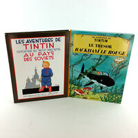 Lot 2 French Adventures Of Tintin Books Full Color Comics Large Softcover Set