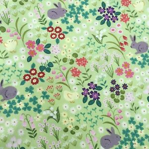Green spring flowers floral hare bunnies Easter Lewis & Irene 100% cotton fabric