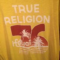 TRUE RELIGION Men's SHIRT XXL YELLOW 100% AUTHENTIC