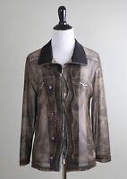 DAMEE Inc $148 Sheer Mesh Denim Print Rivets Studded Zip Jacket Top Size Small