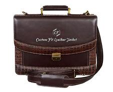 Shoulder Bag For Laptop Brown GLAZE LEATHER Crocodile Print STRONG AND SMART