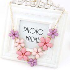 Women Sweet Pink Flower Choker Chunky Statement Bib Chain Necklace Charm Jewelry