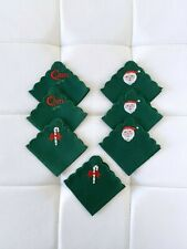 NEW! SET OF 7 Napkins Christmas Holiday Fabric Ornament Santa Claus Candy Cane