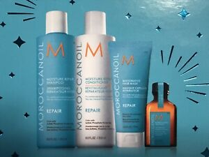 4 Pc Moroccanoil Moisture Repair Shampoo Conditioner 8.5 oz Mask and Oil Set