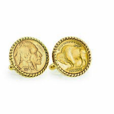 NEW Gold-Layered Buffalo Nickel Goldtone Rope Bezel Coin Cuff Links 12759
