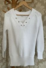 Zara Jumper. Pure White. Lace Up Detail. Chunky. Size M