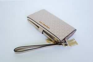 Michael Kors Jet Set Travel Double Zip Leather Phone Wristlet MK Pink Ballet
