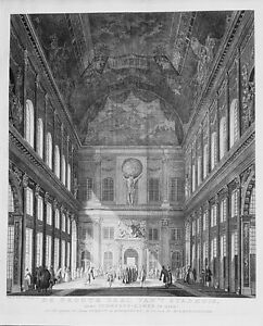 Antique map, De groote zaal van 't stadhuis naar schepens kamer te zien: …