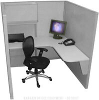 """Single - 5'x5' - Refurbished """"Space Saver"""" Office Cubicles - New Paint & Fabric"""