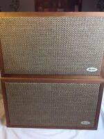 "Vintage ALLIED 3009A 10"" Wood Pair Stereo Speakers, Retro Mid Century WORKS"