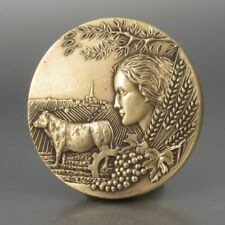 Vintage FrenchBronze Bas Relief Medal, Agriculture, Woman, Grapes, Cow, Signed