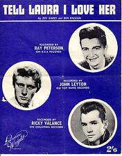 "SHEET MUSIC -  ""TELL LAURA I LOVE HER"" - RICKY VALANCE - JOHN LEYTON (1960)"