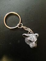 Leopard Head Pewter Effect Animal 3D Emblem On a Split Keyring Handmade