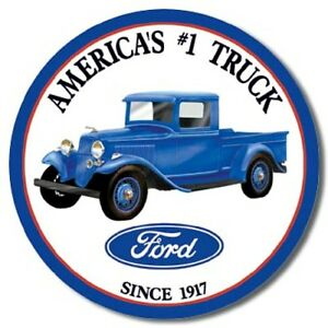 "Ford Truck 12"" Round Tin Sign Nostalgic Metal Sign Retro Home Garage Wall Decor"
