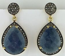 1.03 CT Pave Diamond Blue Sapphire 18K Gold Plated 925 Silver Dangle Earrings