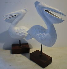 Two Pelicans in White on Iron Handmade 37x24x8xm and 32cm on Wood Mount Base