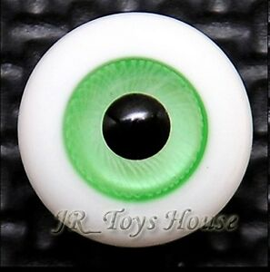 High Grade Glass Eye 12mm Light Green Vein HG Super Dollfie Lati White  DOB