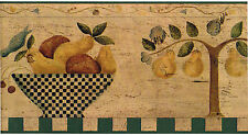 Tuscan Country Vintage Primitive Fruit Bowl Pear Check Kitchen Wall paper Border